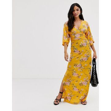 QED London wrap front maxi dress in floral print