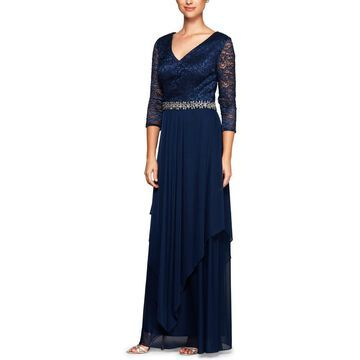 Alex Evenings Womens Lace Embellished Evening Dress