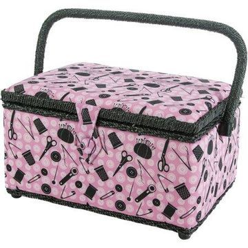 Singer Sewing Basket, Pink Notions, 126 Pieces