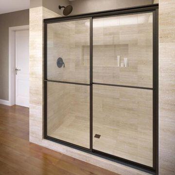 Basco Deluxe 45-in to 47-in W Framed Oil Rubbed Bronze Bypass/Sliding Bathtub Door