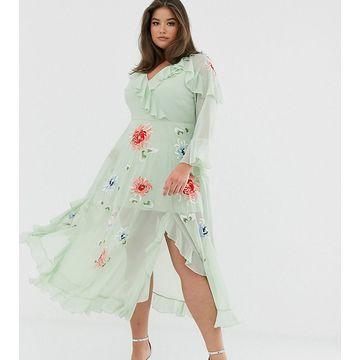 ASOS DESIGN Curve embroidered wrap maxi dress