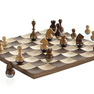 Umbra Wobble Walnut Wood Chess Set Metal and Wood Pieces 377601-656