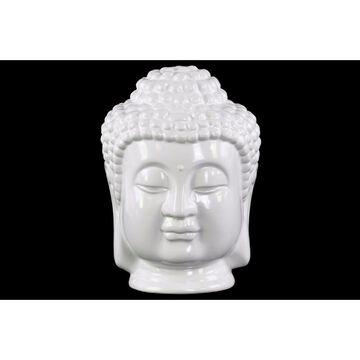 Ceramic Buddha Head with Beaded Ushnisha - White - Benzara
