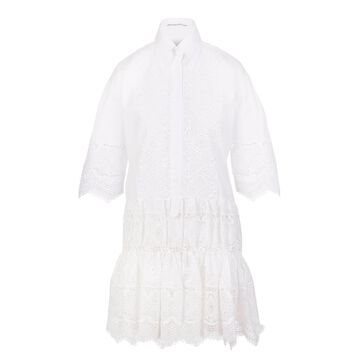 Ermanno Scervino White Short Dress With Embroidery And Macrame