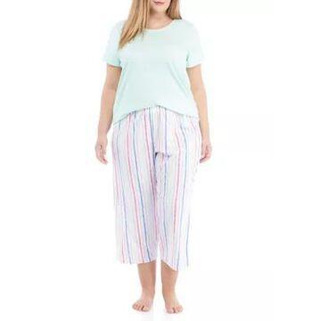 Hue Women's Plus Size Brushed Stripe Pajama Set - -