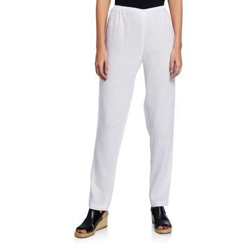 Tissue Linen Slim-Leg Pants