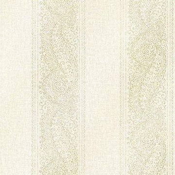 Kenneth James Arcades Light Grey Paisley Stripe Wallpaper