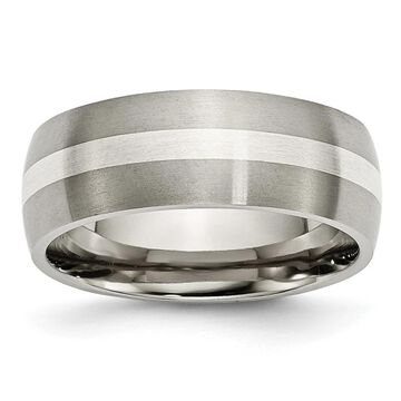 Chisel Titanium Sterling Silver Inlay 8mm Brushed Band