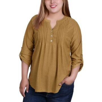 Ny Collection Plus Size 3/4 Tab Sleeve Y-Neck Blouse