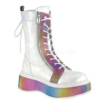Demonia Women's Emily 350 Lace-Up Boot White Brushed/Rainbow Hologram Vegan Leather