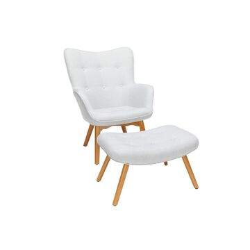 2pc Tufted Fabric Mid-Century Modern Lounge Chair with Ottoman Solid Honey Beechwood Legs - OFM