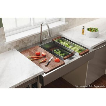 Elkay Dart canyon Farmhouse Apron Front 35.88-in x 27.25-in Polished Satin Stainless Steel Single Bowl 1-Hole Workstation Kitchen Sink