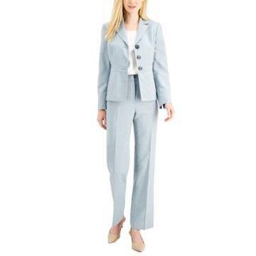 Le Suit Button-Front Glazed Melange Pantsuit