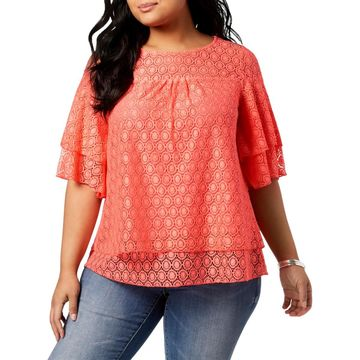 NY Collection Womens Plus Lace Layered Blouse