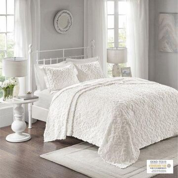 Home Essence Amber 3 Piece Tufted Cotton Chenille Bedspread Set, Full/Queen, White