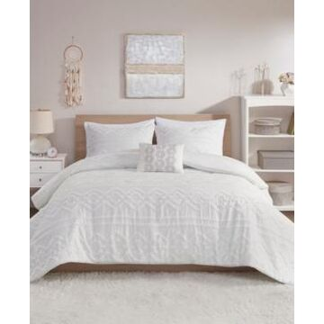 Intelligent Design Annie 4 Piece Full/Queen Solid Clipped Jacquard Duvet Cover Set Bedding
