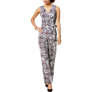 NY Collection Womens Petites Jersey Surplice Jumpsuit