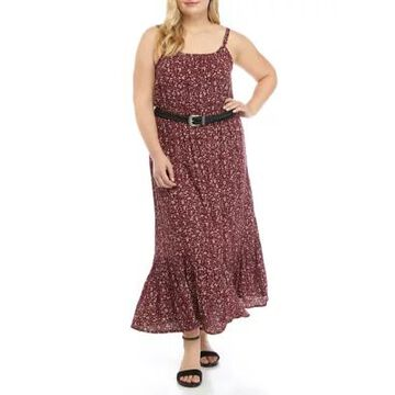 Wallflower Women's Plus Size Peasant Maxi Dress With Belt - -