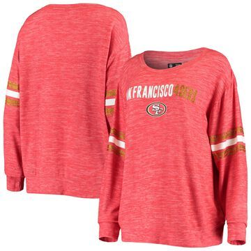 San Francisco 49ers 5th & Ocean by New Era Women's Tri-Blend Fleece Pullover Sweatshirt Heathered Scarlet