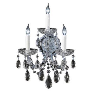 Crystorama 4403-CH-CL-MWP 3-Light Clear Crystal Sconce, Polished Chrom