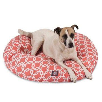 Majestic Pet Links Round Dog Bed Cotton Twill Removable Cover Coral Large 42 x 42 x 5