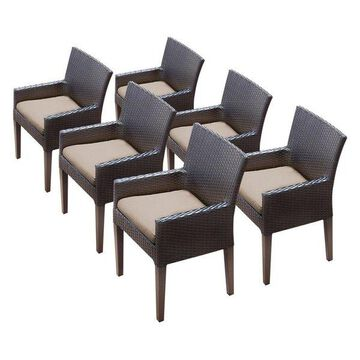 TK Classic Napa Patio Dining Arm Chair in Tan (Set of 6)