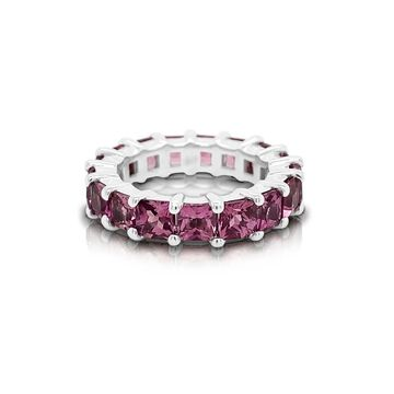 Noray Designs 14K Gold Princess Cut Pink Tourmaline (4MM) Eternity Ring