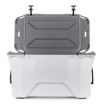 Camco Currituck Cooler White and Gray 50 Quart Rugged Exterior Made for Sports, Hiking and Outdoor Activities-Comes with Cooler Basket (51700)