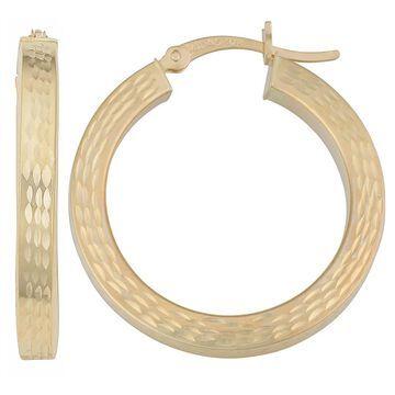 Fremada 10k Yellow Gold Textured Square Tube Hoop Earrings (Hoop earrings)
