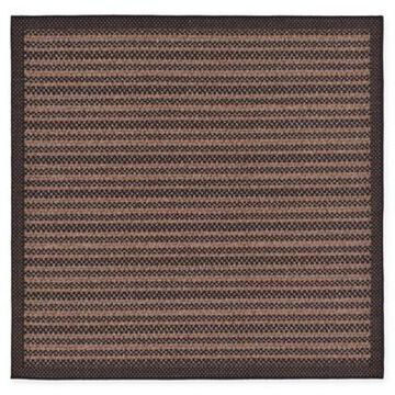 Unique Loom Checkered Trellis 6' x 6' Indoor/Outdoor Area Rug in Brown