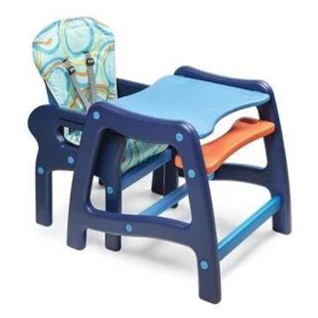 Badger Basket Envee Baby High Chair with Playtable Conversion (Blue/Orange)