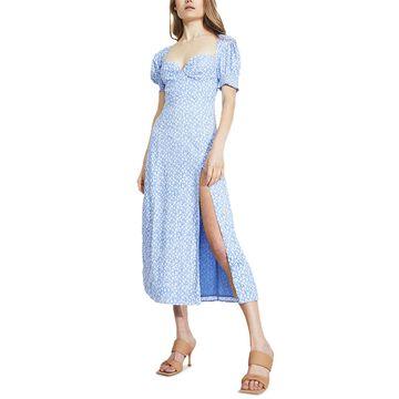 Bardot Puff-Sleeve High-Slit Midi Dress