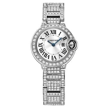 Cartier Women's WE9003ZA 'Ballon Bleu' White Gold-Tone Stainless Steel with Sets of Diamond Watch