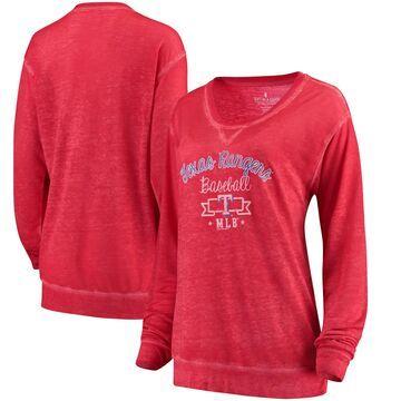 Texas Rangers Soft as a Grape Women's Home Run Swing Sweatshirt - Red