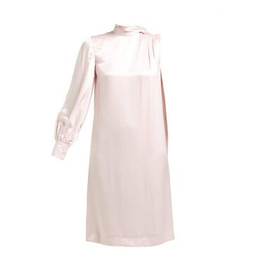 Erdem - Venora One Sleeve Satin Dress - Womens - Pink