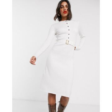 Fashion Union knitted button up dress with belt-Cream