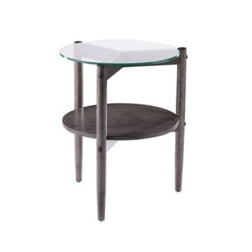 Southern Enterprises Feore Round Glass Top End Table
