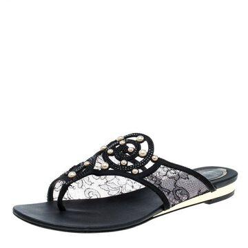 Rene Caovilla Black Embellished Lace and Satin Flat Sandals Size 38