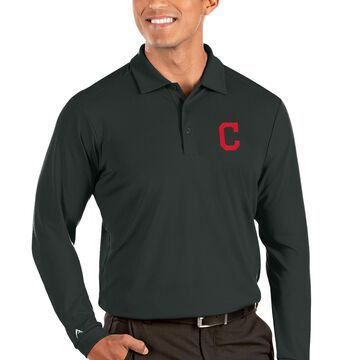 Cleveland Indians Antigua Tribute Long Sleeve Polo - Gray