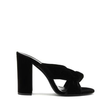 Saint Laurent - Bianca Knotted Velvet Mules - Womens - Black