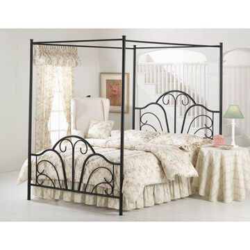 Hillsdale Furniture Dover Canopy Metal Queen Bed with Bedframe, Textured Black