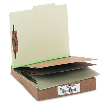 Acco Pressboard 25-Pt Classification Folders Letter 6-Section Leaf Green 10/Box