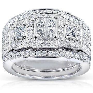 Annello by Kobelli 14k White Gold 1 1/3ct TDW Diamond 3-piece Bridal Ring Set