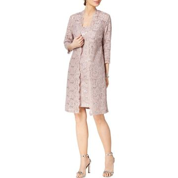 Alex Evenings Womens Dress With Jacket Sequined Lace