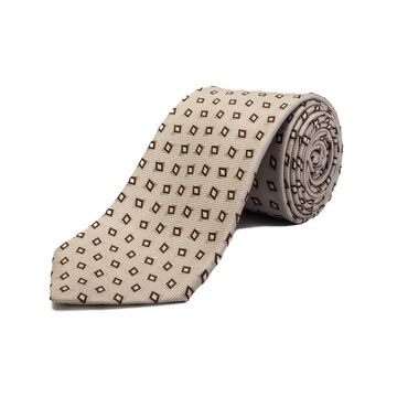 Ermenegildo Zegna Men's Silk Geometric Pattern Tie Cream White - No Size
