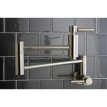 Kingston Brass Concord Satin Nickel Wallmount Pot-Filler Kitchen Faucet (Concord Satin Nickel Wallmount Pot-Filler Faucet)
