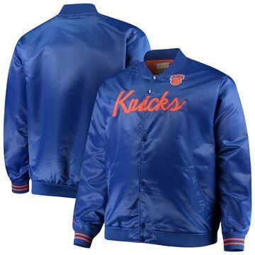 Men's Mitchell & Ness Blue New York Knicks Hardwood Classics Satin Full-Snap Jacket