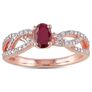 Miadora Rose Goldplated Silver Ruby and 1/6ct TDW Diamond Braided Ring (H-I,I2-I3)