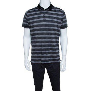 Z Zegna Grey Striped Knit Geometric Pattern Short Sleeve Polo T-Shirt L