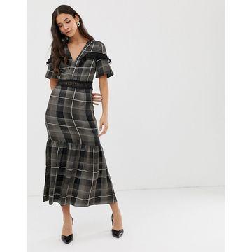 Liquorish maxi dress with sheer inserts in check print
